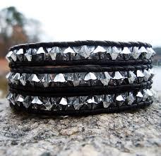 swarovski crystal leather bracelet images Swarovski crystal leather wrap bracelets silver onsra designer jpg