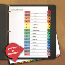 avery 15 tab table of contents color template table of contents dividers by universal unv24808 ontimesupplies com