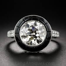 2 72 carat diamond and black jade art deco style ring
