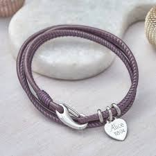 bracelet silver leather images Personalised sterling silver and leather wrap bracelet by jpg