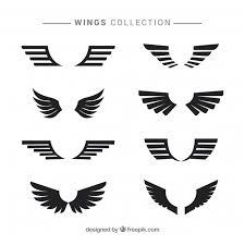 black modern wings in flat design vector free