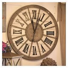 pendule murale cuisine horloge gare metal bois murale style industriel décoration rétro