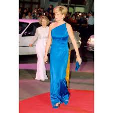 diana blue one shoulder prom dress