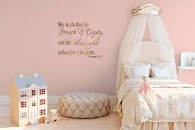 Little Girls Bedroom Wall Decals Girls Bedroom Wall Quote Proverbs 31 25 Wall Decal Bible