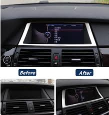 Car Modifications Interior Stainless Steel Navigation Frame Decoration Cover Trim For Bmw X5