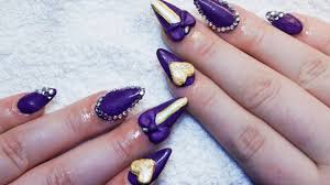 sculpted purple u0026 gold almond nails youtube