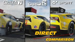 comparaison siege auto forza 7 vs gtsport vs project cars 2 direct comparison