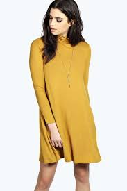 yellow sweater dress boohoo turtle neck sleeve swing dress where to buy