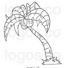 coconut tree clipart black and white