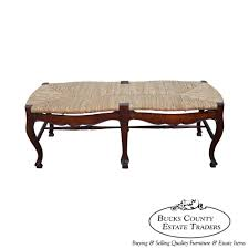 8075 solid mahogany country french style rush seat window bench