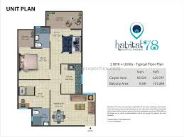 75 Sqm To Sqft 2 Bhk Apartment Flat For Sale In Conscient Habitat 78 Sector 78