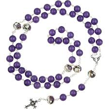purple rosary murano glass bead rosary maryann blues with 22kt gold plated