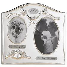 25th anniversary gift ideas frames satin silver and brass plated 2 opening