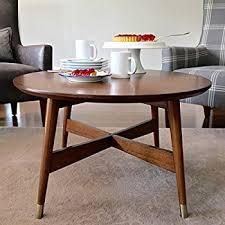 mid century round coffee table amazon com mid century transitional round coffee table with warm