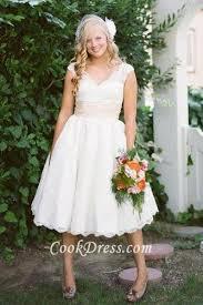 scalloped v neck cap sleeve tea length short lace wedding dress