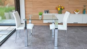 Stylish Small Dining Set Chrome And Clear Glass Modern Chairs - Dining room table glass
