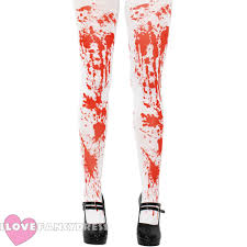 skeleton tights blood stained stockings ladies halloween fancy