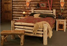 Log Home Bedroom Decorating Ideas Transitional Bedroom Decorating Ideas With Rustic Log Bed