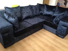 Black Corner Sofas Desire All Black Crushed Velvet Corner Sofa In Lefthand Square