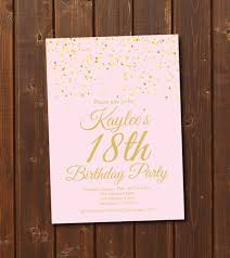 18th birthday invitation printable gold u0026 pink birthday invitation