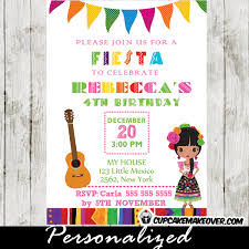 mexican fiesta children birthday party invitation card with