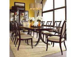 thomasville studio 455 double pedestal dining table adcock shown with side chairs upholstered arm chairs and bunching curios