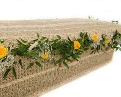 wicker casket willow coffin garland funeral flowers funeral