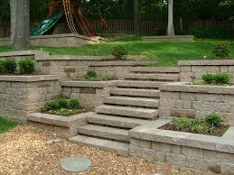 Retaining Wall Patio Design Backyard Retaining Wall Steps Between Flower Boxes Backyard