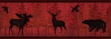 lodge signs wallpaper border wl5569b moose cabin fish rustic