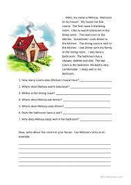 rooms of the house reading comprehension worksheet free esl