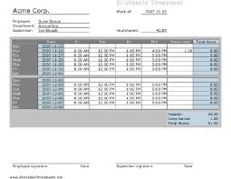 Bi Weekly Timesheet Template Excel Biweekly Timesheet With Comp Calculation Printable Sheet