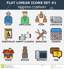 line icons set of business company services office team modern