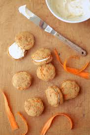 gluten free carrot cake whoopie pies with orange cream cheese icing