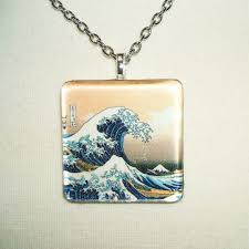 great necklace the great wave necklace glass tile pendant artjewelryforyou on