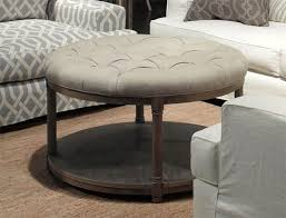 Round Cocktail Ottoman Upholstered by Lorraine Round Contemporary Coffee Table By Brownstone Contemporary