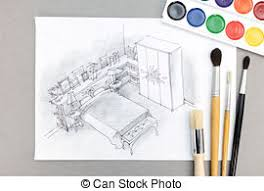 stock photo of bedroom drawing with color pencil master bedroom