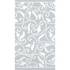 amscan ornamental scroll guest towels 7 75 x 4 5 silver 4 pack