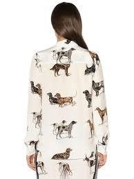 stella mccartney dogs printed silk crepe de chine shirt white