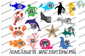 monogram ocean animals svg dxf eps cut files by afw designs