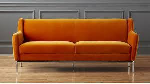 Orange Sofa Bed by Alfred Amber Orange Velvet Sofa Cb2