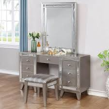 The Vanity Box Corpus Christi Glam Vanity Desk Stool And Mirror Combo Leighton By Coaster