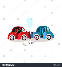 vector flat cartoon car crash headon stock vector 713715433