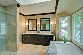 pony wall bathroom traditional with frame and panel cabinets dark