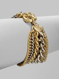 gold tone chain link bracelet images Lyst giles brother two tone multi row chain link bracelet in jpeg