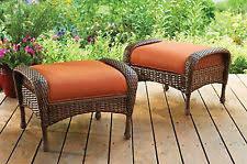 outdoor storage ottoman wicker with orange cushions patio