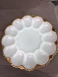 egg plate king anchor hocking deviled egg plate gold trim white milk