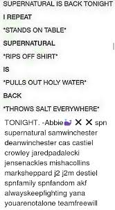 Meme Throws Table - supernatural is back tonight i repeat stands on table supernatural