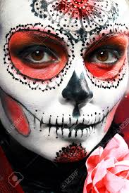 halloween make up sugar skull beautiful model with perfect