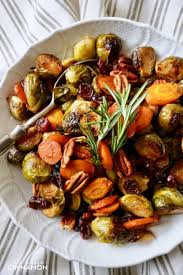 easy roasted vegetables with pecans and cranberries not