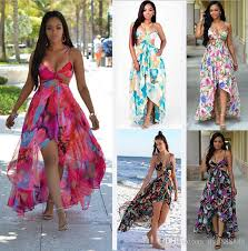 summer dresses chiffon summer flora printed slip dress flowy backless